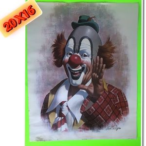 Clown Print Picture 20X16 Small water stain